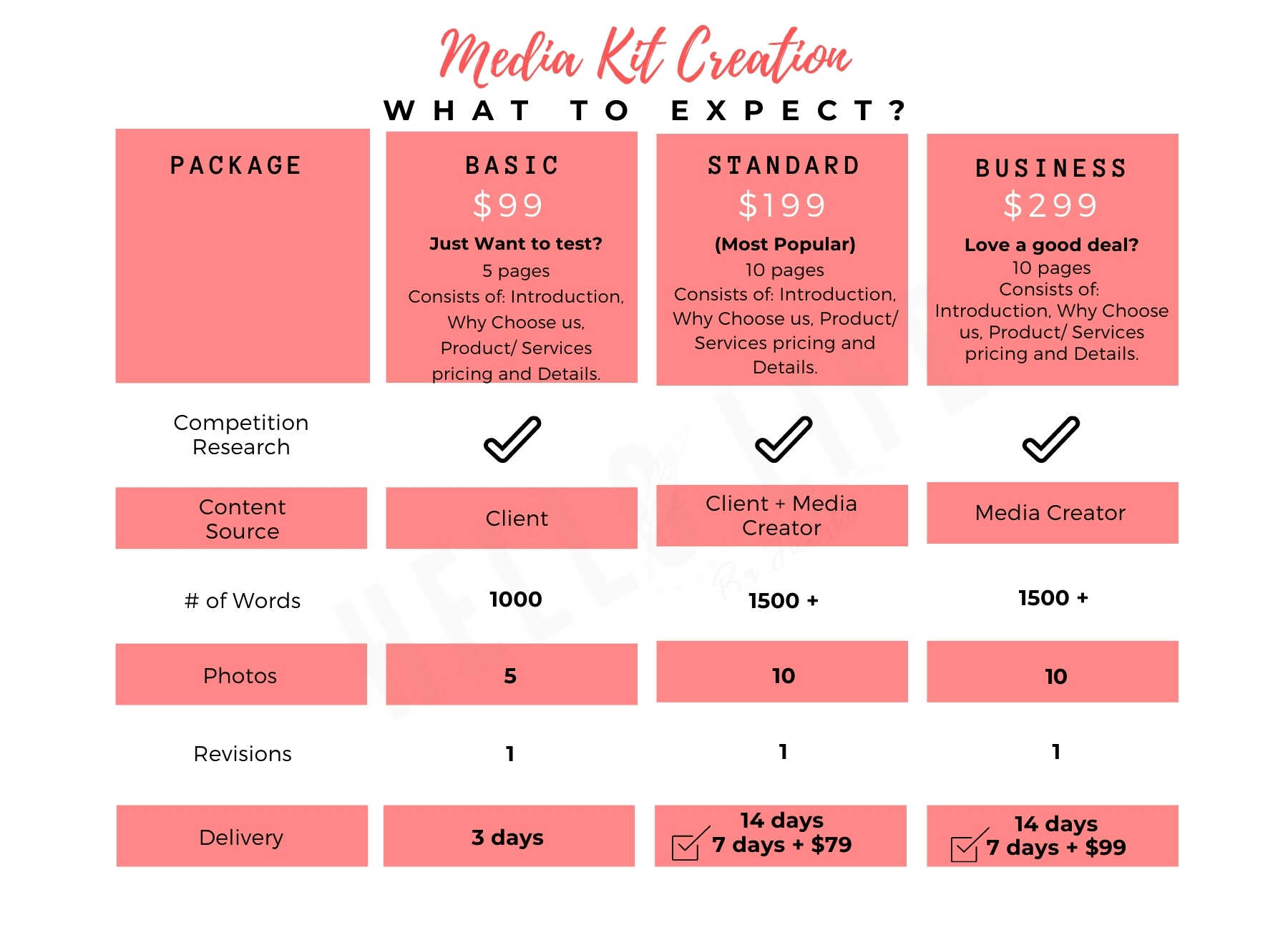 Services offered by Hello Life Media Kit Creation